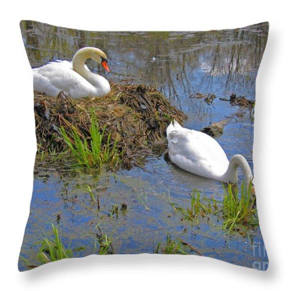Expectant Throw Pillow by Ann Horn