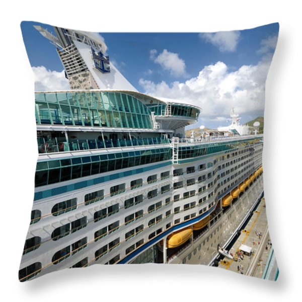 Explorer Of The Seas Seen From Adventure Of The Seas Throw Pillow by Amy Cicconi