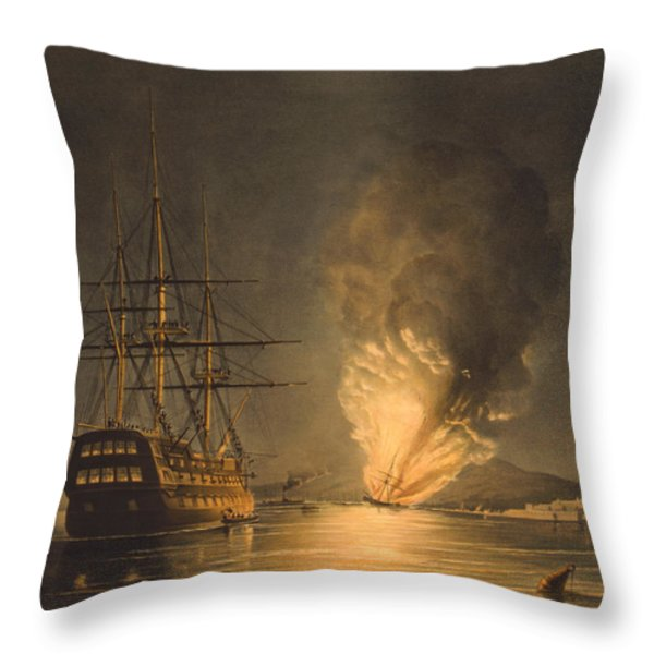 Explosion Of The Uss Steam Frigate Missouri Throw Pillow by War Is Hell Store
