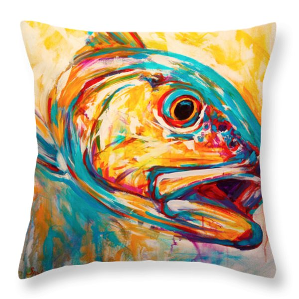 Expressionist Redfish Throw Pillow by Mike Savlen