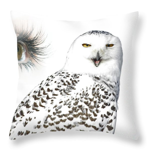 Eye Of Purity And The Mysterious Snowy Owl  Throw Pillow by Inspired Nature Photography By Shelley Myke