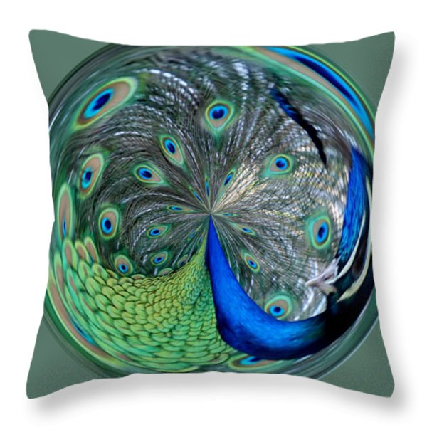 Eyes Of A Peacock Throw Pillow by Cynthia Guinn