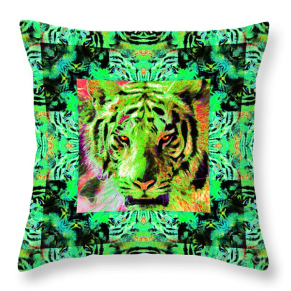 Eyes of The Bengal Tiger Abstract Window 20130205m180 Throw Pillow by Wingsdomain Art and Photography