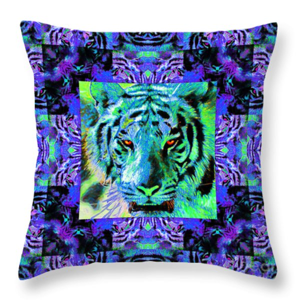Eyes Of The Bengal Tiger Abstract Window 20130205m80 Throw Pillow by Wingsdomain Art and Photography