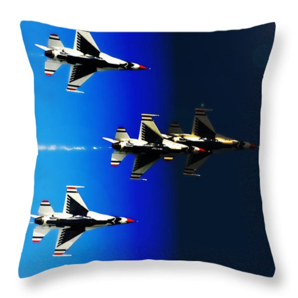 F16 Flight Into Space Throw Pillow by DigiArt Diaries by Vicky B Fuller