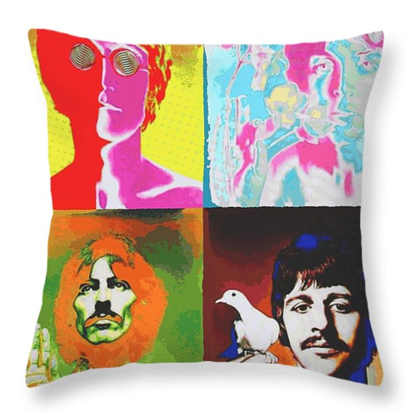 Fab Four Throw Pillow by Dan Haraga