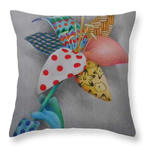 Fabric Lily Throw Pillow by Charity Goodwin