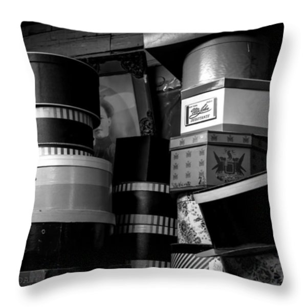 Face Behind The Hat Boxes Throw Pillow by Bob Orsillo