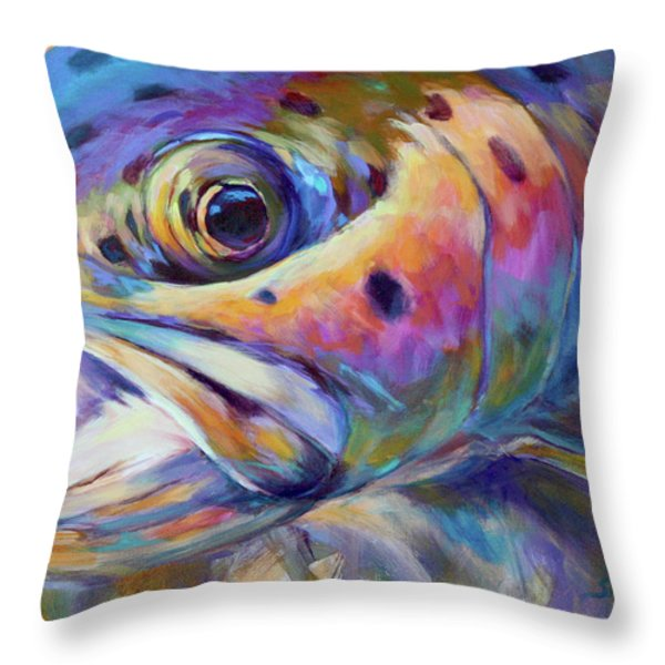 Face Of A Rainbow- Rainbow Trout Portrait Throw Pillow by Mike Savlen