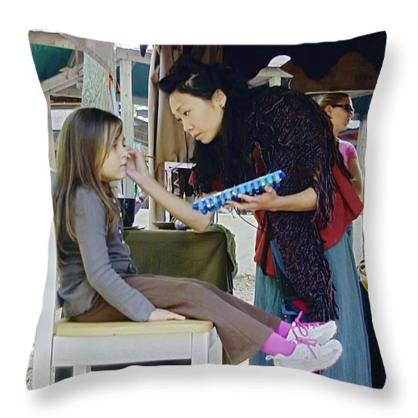 Face Painting Throw Pillow by Brian Wallace