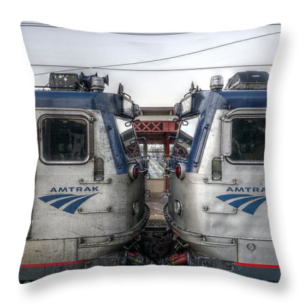 Face To Face On Amtrak Throw Pillow by Richard Reeve