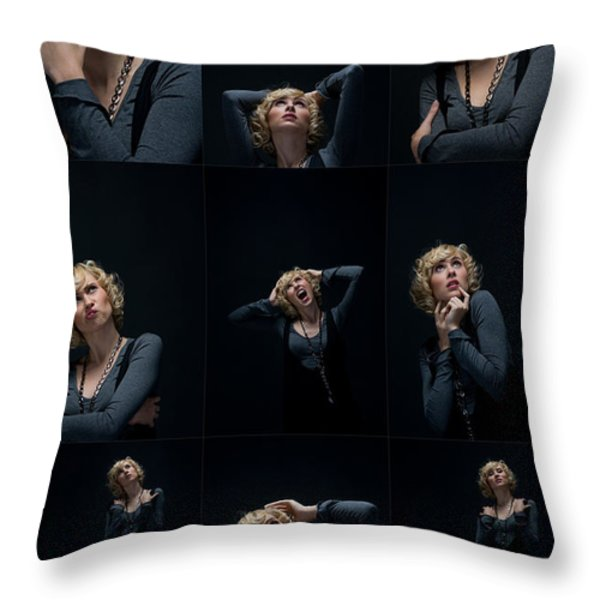 Facial Expression Throw Pillow by Ralf Kaiser