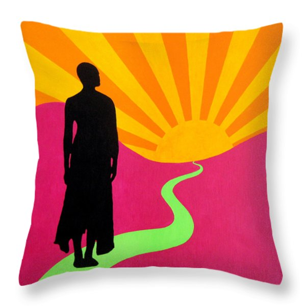 Facing East - A New Dawn Throw Pillow by Oliver Johnston