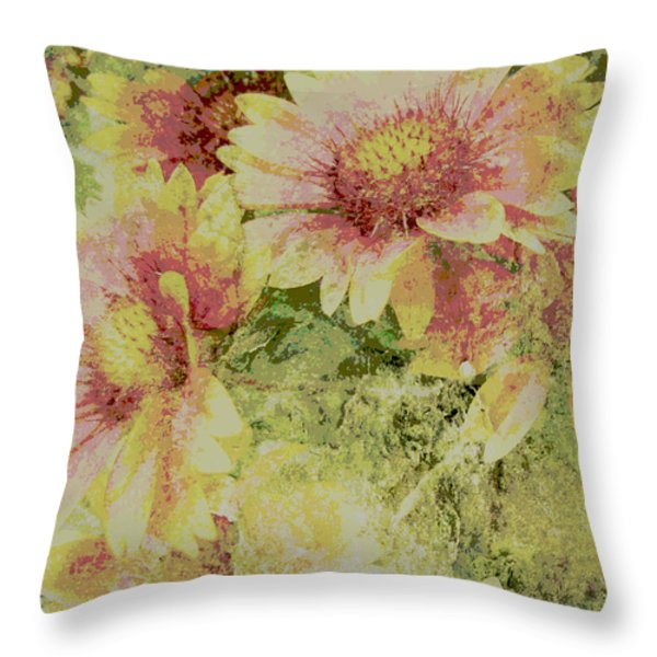 Faded Love Abstract Floral Art Throw Pillow by Ann Powell