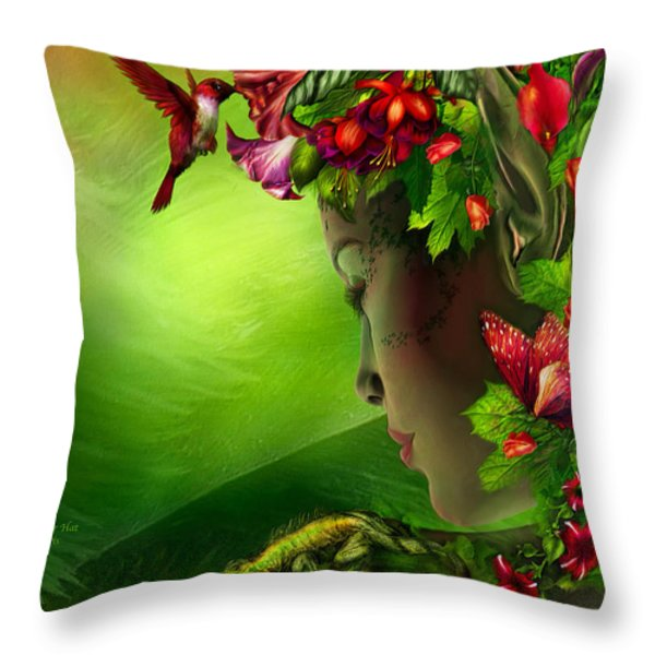 Fae In The Flower Hat Throw Pillow by Carol Cavalaris