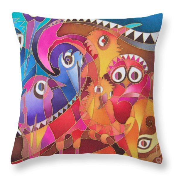 Fair Weather Friends Throw Pillow by Maria Rova