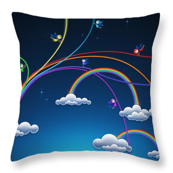 Fairies Made Rainbow Throw Pillow by Gianfranco Weiss