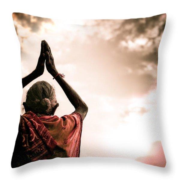 Faith And Prayers For Peace Throw Pillow by Nila Newsom