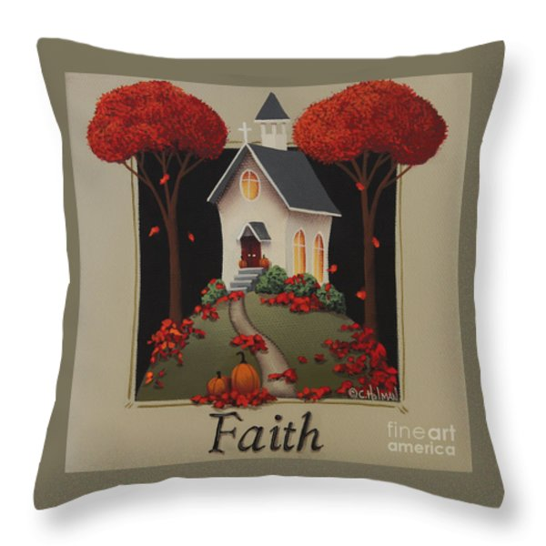 Faith Country Church Throw Pillow by Catherine Holman