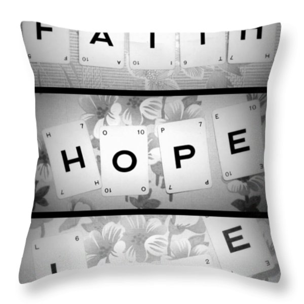 Faith Hope Love Throw Pillow by Nomad Art And  Design