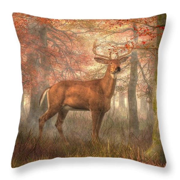Fall Buck Throw Pillow by Daniel Eskridge
