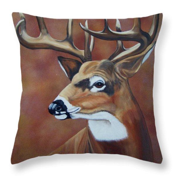 Fall Buck Throw Pillow by Debbie LaFrance