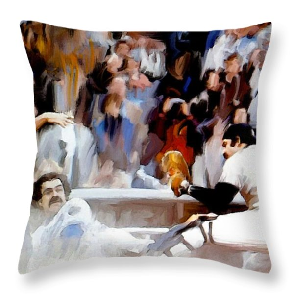 Fall Classic   Thurman Munson Throw Pillow by Iconic Images Art Gallery David Pucciarelli