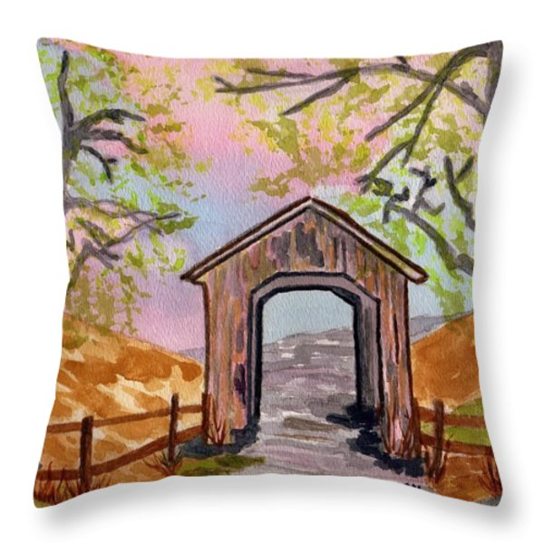 Fall Creek Oregon Throw Pillow by Connie Valasco