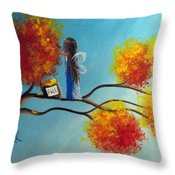 Fall Fairy By Shawna Erback Throw Pillow by Shawna Erback