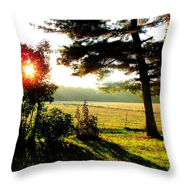Fall Farm Sunrise 10 10 13 Throw Pillow by Tina M Wenger