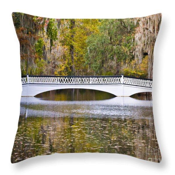 Fall Footbridge Throw Pillow by Al Powell Photography USA