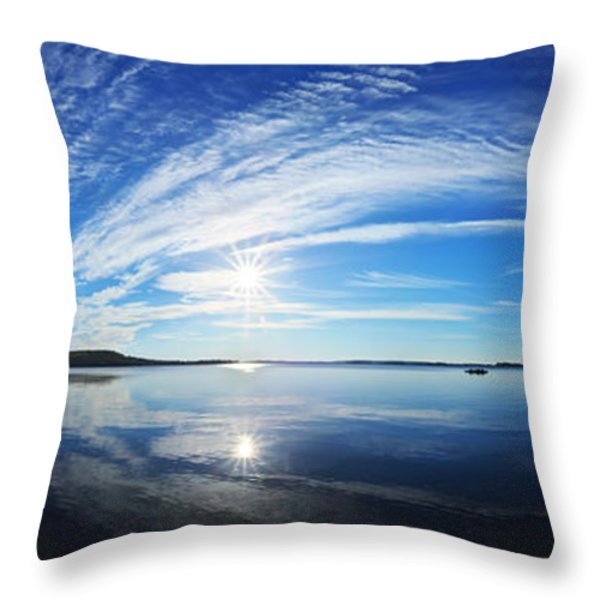 Fall Morning at Meddybemps Panorama Throw Pillow by Bill Caldwell -        ABeautifulSky Photography