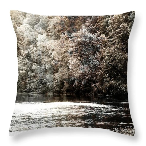 Fall On The Current Throw Pillow by Marty Koch