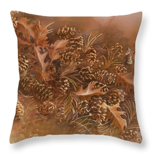 Fall pinecones Throw Pillow by Paula Marsh