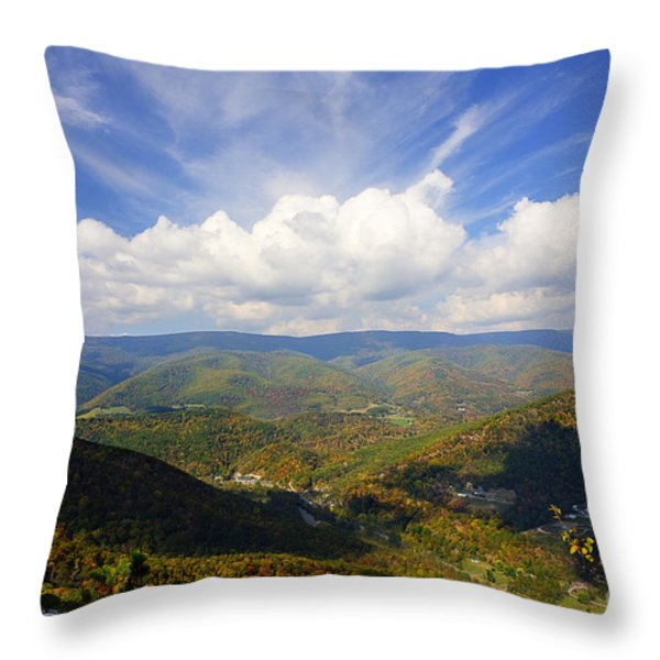 Fall Scene From North Fork Mountain Throw Pillow by Dan Friend
