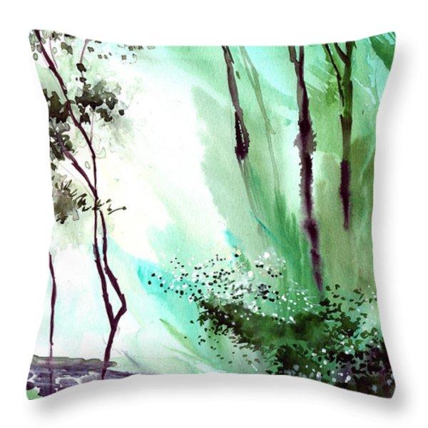 Falling Light Throw Pillow by Anil Nene