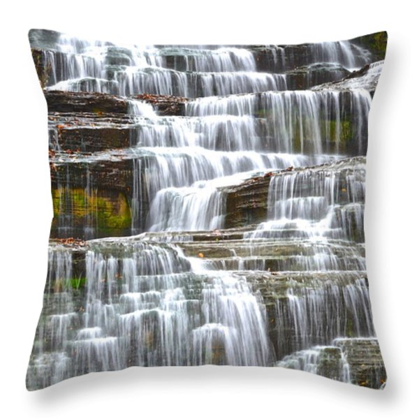 Falling Water Throw Pillow by Frozen in Time Fine Art Photography