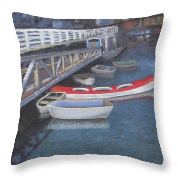 False Creek Ferry Landing Throw Pillow by Brenda Salamone