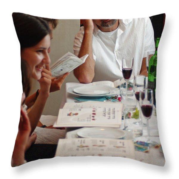 Family around the sedder table Throw Pillow by Ilan Rosen