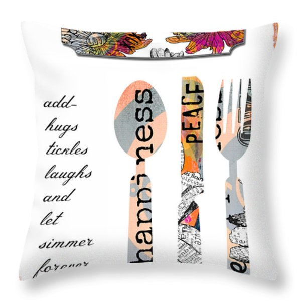 Family Love Recipes Throw Pillow by Anahi DeCanio