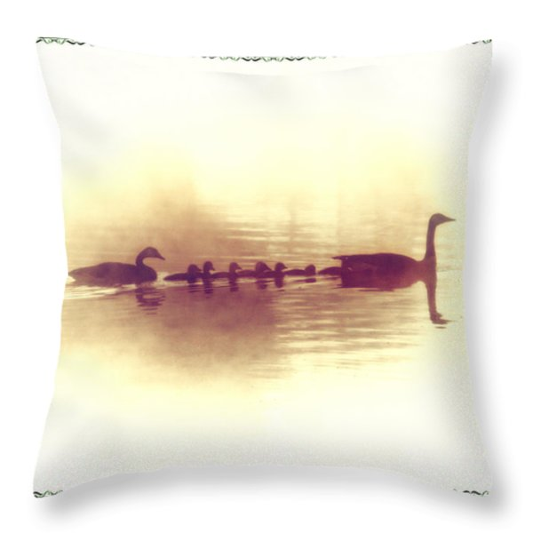 Family Outing Throw Pillow by Bill Cannon