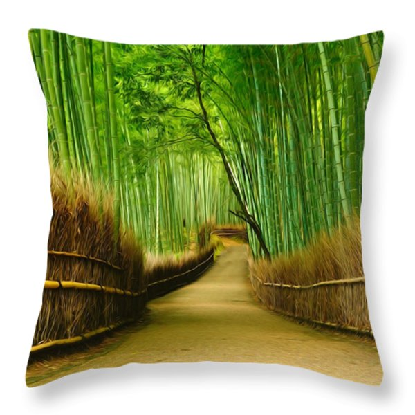 Famous Bamboo Grove At Arashiyama Throw Pillow by Lanjee Chee