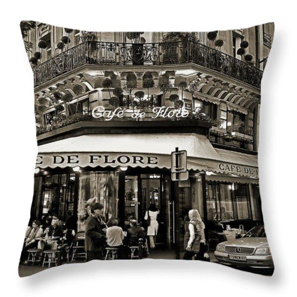 Famous Cafe de Flore - Paris Throw Pillow by Carlos Alkmin