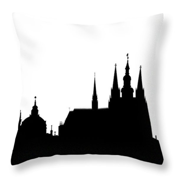 famous landmarks of Prague Throw Pillow by Michal Boubin