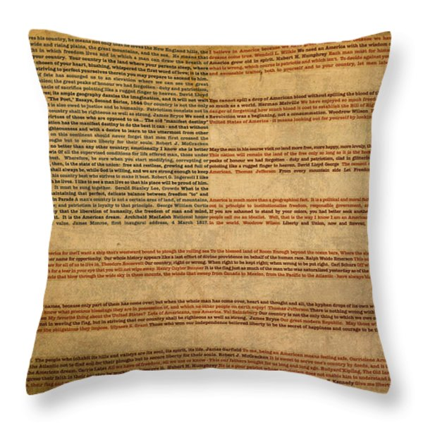 Famous Patriotic Quotes American Flag Word Art Throw Pillow by Design Turnpike