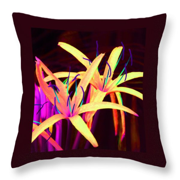 Fantasy Flowers 7 Throw Pillow by Margaret Saheed