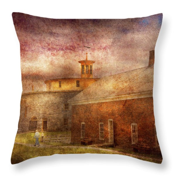 Farm - Barn - Shaker Barn  Throw Pillow by Mike Savad