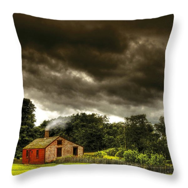 Farm - Barn - Storms a comin Throw Pillow by Mike Savad