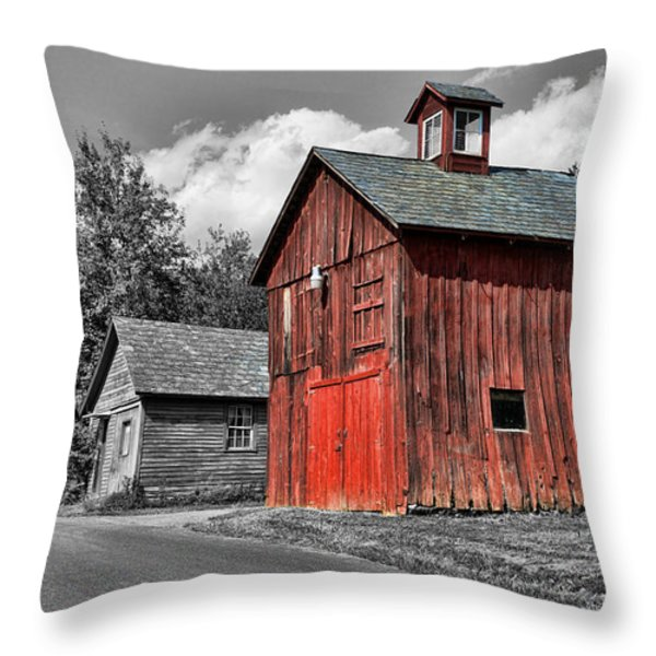 Farm - Barn - Weathered Red Barn Throw Pillow by Paul Ward