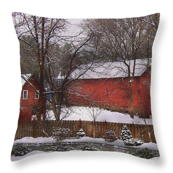 Farm - Barn - Winter in the Country  Throw Pillow by Mike Savad